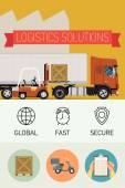Forklift loading cargo — Stock Vector