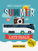 Bus tours summer late deals. — Stock Vector