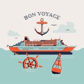 'Bon voyage' printable poster — Stock Vector