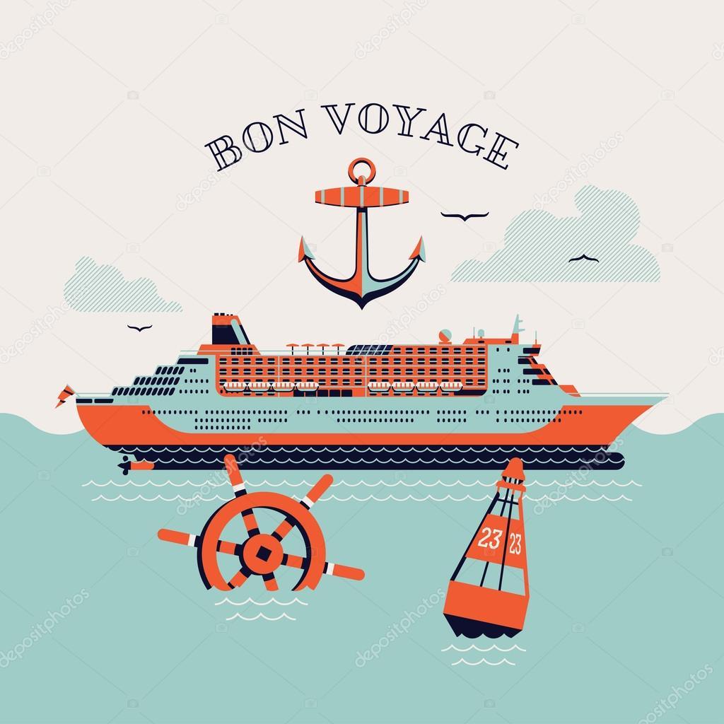 'Bon voyage' printable poster– stock illustration