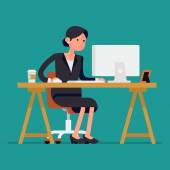 Business woman using computer — Stock Vector