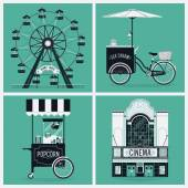 Wheel, cinema, ice cream, popcorn — Stock Vector