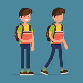 Boy character with school books — Stock Vector