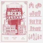 Craft beer market — Stock Vector