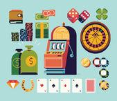 Gambling and casino equipment — Stock Vector