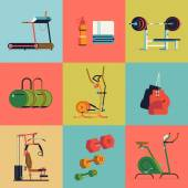 Fitness gym exercise equipment and items — Stock Vector