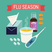 Cool flu and cold season — Stock Vector