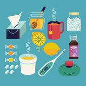 Cold and flu season  icons — Stock Vector