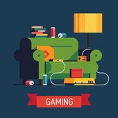 'Gaming' with home video game — Stock Vector