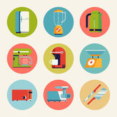 Home kitchen appliances icons — Stock Vector