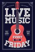 Beautiful 'Live Music Every Friday' — Stock Vector