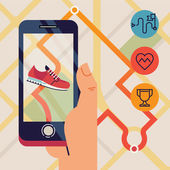 Run tracking application — Stock Vector