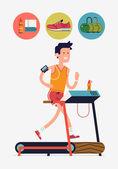 Man running on treadmill in fitness gym — Stock Vector