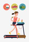 Woman running on thread mill — Stock Vector
