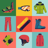 Snowboarding gear web icons — Stock Vector