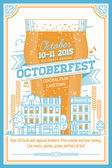 Beautiful Octoberfest beer festival — Stock Vector