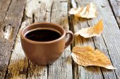 Autumn morning coffee cup — Stock Photo