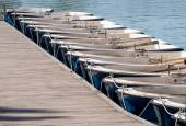 Boats moored in a row — Stock Photo
