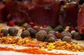Spices and meat on lite wooden table — Foto de Stock
