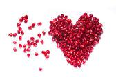 Een afbeelding van een hart van granaatappel zaden — Stockfoto