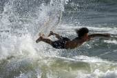 Surfer Surfboard Jump — Stock Photo