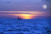 Sailboat Ocean Moon LightNight  Journey — Stock Photo