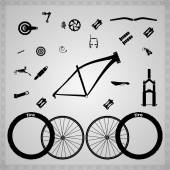 Bicycle components. — Stock Vector