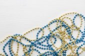 Golden and blue beads — Stock Photo