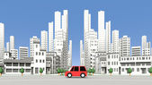 Cars on the street building — Stock Photo