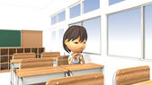 3D illustrations of girls bad mood in the classroom — ストック写真