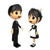 Butler and maid — Stock Photo