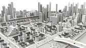 3D-CG image of bird's-eye viewing city — Stock Photo