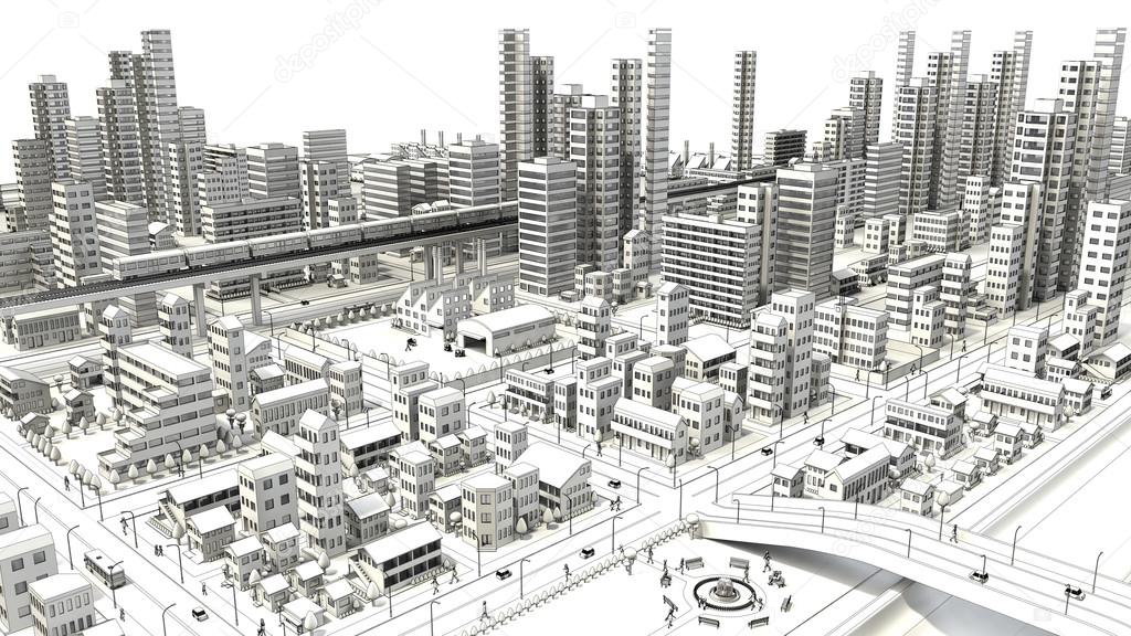 Line Drawing Of Bird S Eye Viewing City Stock Photo