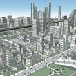 3D-CG image of bird's-eye viewing city — Stock Photo #67292875