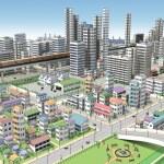 3D-CG image of bird's-eye viewing city — Stock Photo #67292877