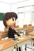 3D-CG image of a Female student sitting in the classroom — Stock Photo