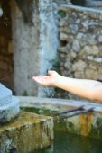 Drinking fountain in the old town France — Stock Photo