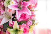 Close up of colorful artificial bouquet flowers — Stock Photo