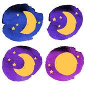 Crayon moon set — Stock Vector