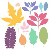Colorful leaf set — Stockvector