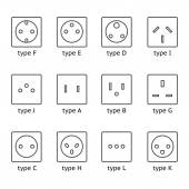 Different type power socket set — Stock Vector