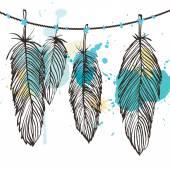Aquarelle feather set — Stock Vector