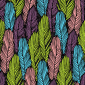 Colorful feather seamless background — Stock Vector