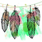 Colorful watercolor feather set — Stock Vector