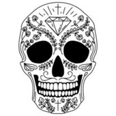 Black and white sugar skull — Stock Vector