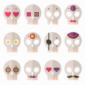 Flat skulls icon set — Stock Vector