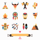 Tribal colorful icons set — Stock Vector