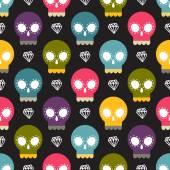 Skulls colorful seamless pattern — Stock Vector