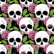 Background with skull, leaf and rose — Stock Vector #55579319