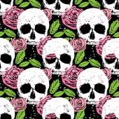 Background with skull, leaf and rose — ストックベクタ